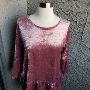 Sweet Claire Pink Crushed Velvet Blouse